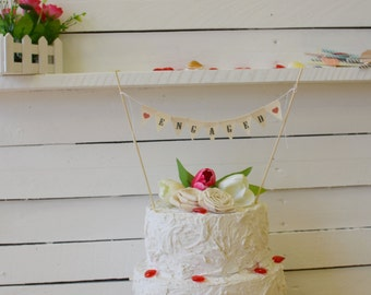 Engaged Cake Topper, Burlap Cake Bunting, Rustic Burlap Cake Banner, Mini Bunting, Cake topper, Proposal, Valentine's, Engagement
