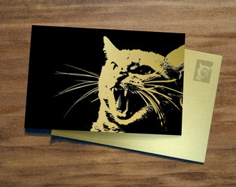 ANGRY CAT | GOLD | Women's March Postcard