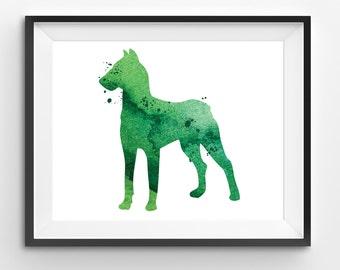 Green Dog Watercolor Print, Animal Print, Dog Digital Print, Abstract Dog Print, Dog Art, Dog Print, Living Room Decor, Modern Kids Art