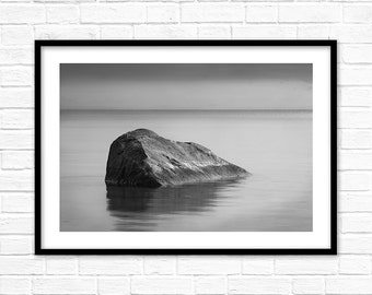 Ocean Wall Art Print, sea water photo, ebb, coastal stone decor, black and white landscape, to print digital download, a large poster.