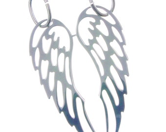Pendant silver double angel wings 925 fashion gift idea-double angel wings pendant sterling Silver
