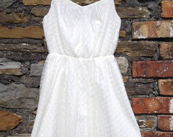 Vintage 80s Mesh Net Strappy Dolly Dress Off White / Cream Size XS