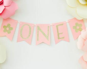 Pink Gold Glitter Banner - Birthday Party Banner - Cake Smash Banner - Photo Shoot Prop - High Chair Banner - Age Banner