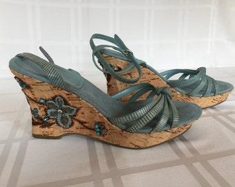 Bandolino Ankle Strap Turquoise Sandals