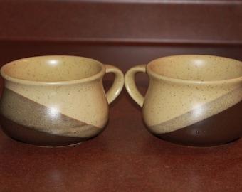 Vintage Ceramic Coffee/Soup/Chowder/Hot Chocolate Mugs, Mid Century Modern, Minimalist Design