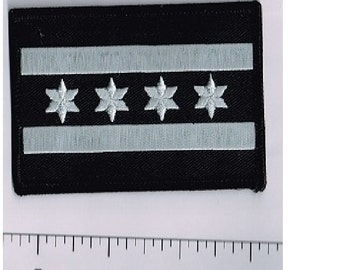 Chicago Flag, black & silver