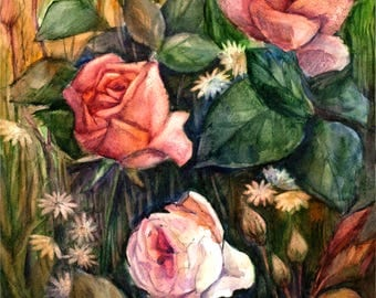Roses art Rose painting original watercolor Rose Rose original painting Pink rose at Rose wall decor PaintingOnlineStore