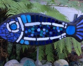 Mosaic Blue Fish Garden Art