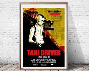 Taxi Driver Minimal Alternative Minimalist ArtworkGraphic Design Movie Film Graphic Poster Print Art Deco