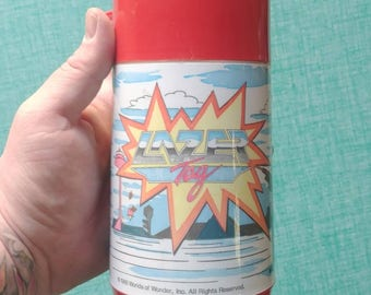 Lazer Tag Vintage Thermos! 1980s Design @ the coolest! Vintage Design - Vintage Style - Comic Book - Cartoon - Action Figure