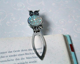 Bookmark OWL antique silver with white flowers