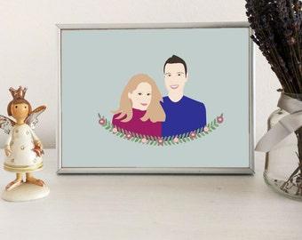 Custom portrait illustration, couple portrait illustration
