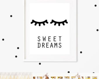 Closed Eyes Kids Decor, Sleepy Eyes, Nursery Print, Nursery Sleep Print,  Sleepy Eyelashes Print,  Sweet Dreams