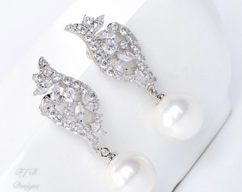 Bridal Earrings, Bridal Party Earrings, Freshwater Pearl and Cubic Zirconia, 18k White Gold Plated Earrings