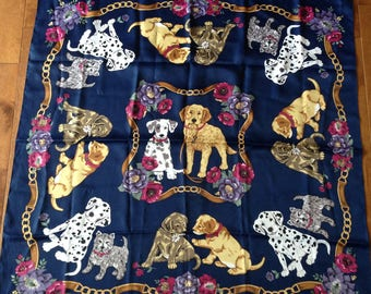 Vintage Scarf - Dogs and Puppies - 34 inches x 34 inches