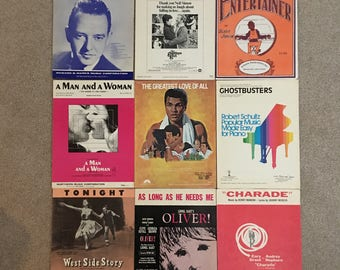 Movie Theme Music, Vintage Sheet Music, Set of 9