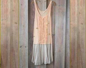 Peach Ruffle Front Sundress, Upcycled Clothing, Refashioned Clothing, Sleepwear, Beach Coverup, Romantic Sundress, Boho Sundress, Sheer