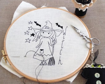 witch embroidery kit