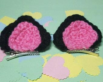Cat Ears Crochet Hair Clips