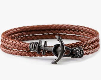 Cooper leather anchor bracelet, mens bracelet, mens anchor bracelet,boyfried gift,bracelet homme, gift for him, anniversary gift, cadeau