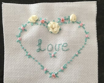 Hand Embroidered LOVE heart Panel