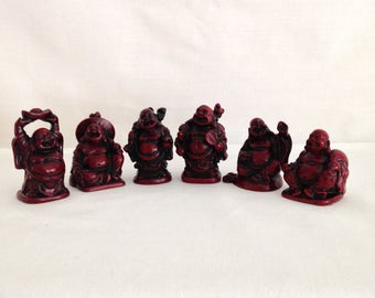 Set of Miniature 6 Laughing Buddahs Red Resin 5.5cm