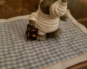 Hallmark Merry Miniature Rhinoceros in Halloween Trick or Treating costume 1996