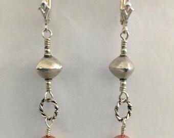 Sterling Silver Peach Pearl Earrings