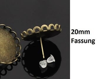 Earrings, Stud Earrings, cabochons, Cabochon, adhesive stones, dome stones, bronze, 20 mm, 17259