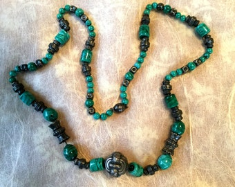 Artisan Silver and Art Glass Beaded Necklace on Chain