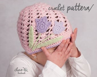 Crochet Hat PATTERN No.48 - Spring Hat Crochet Pattern With Flower, Autumn hat, Tulip crochet hat