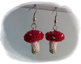 Crochet unique earrings Toadstool