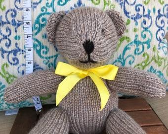 Hand Knitted Silver Teddy Bear