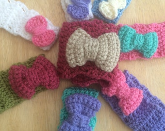 Bow Headband, childs bow headband, adult bow headband, crochet ear warmer, vegan friendly headband, crochet headband, chunky headband