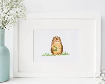 Hedgehog PRINT - 5x7 - from Original Watercolor Painting Illustration (spring, meadow, clover), baby shower