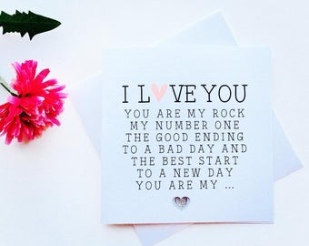 You Are My Rock Greeting Card - Valentine's Card - Birthday Card - Anniversary Card - Love - Romantic - Handmade