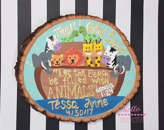 Noah's Ark Wood Slice | Calligraphy | Handpainted Wood Sign | Nursery | Noah's Ark Nursery