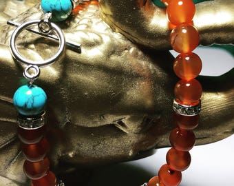 Carnelian Agate Gemstone Bracelet  with two Natural Blue Turquoise Gemstones