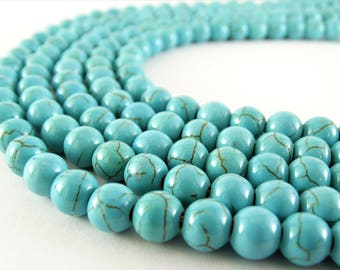 8mm turquoise beads howlite turquoise gemstone beads round beads blue turquoise bead turquoise howlite beads stone turquoise round howlite