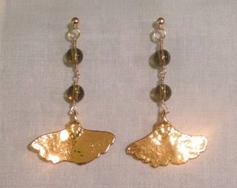 Earrings with Gold Ginkgo Leaves and Green Beads