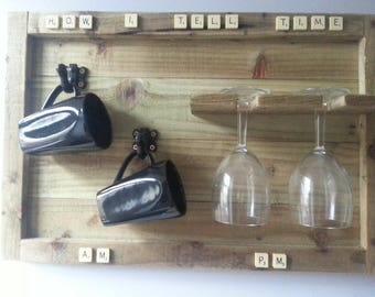 Cup and glass holder..Rustic Am\Pm cup and glass holder, novelty item, wooden wall decor. HALF PRICE for a limited time only!!