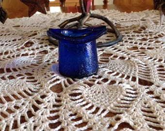 Vintage Cobalt Blue Glass Top Hat Ashtray