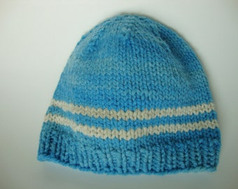 Handknit American Nontoxic Natural Merino Wool Chunky Baby Hat Beanie - 9 months-Toddler Blue and White Stripes