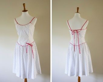 Vintage 1970s Polka Dot Red and White Summer Dress from Act I / Women's Drop Waist Tie Dress / Sun Dress / 1950s Style