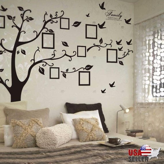Family Photo Tree Vinyl Wall Decal Picture Frames Home - Custom vinyl wall decals large   how to remove