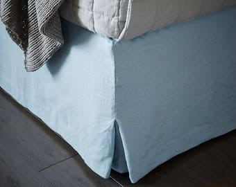 Soft Linen Queen size bed skirt -14 colors - Washed bed skirt - Linen bedding -Choose the drop #Blue Corner#