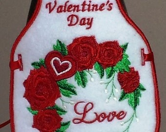 Valentine's Gift / Love and Red Roses / Embroidered Bottle Apron