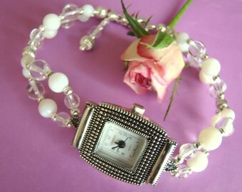 April Birthstone of Crystal Clear Quartz & Mother of Pearl Shell Gemstones Beaded Watch
