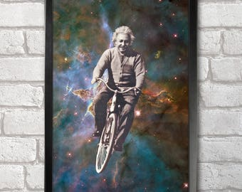 Albert Einstein Cycling in Space Poster Print A3+ 13 x 19 in - 33 x 48 cm  Buy 2 get 1 FREE