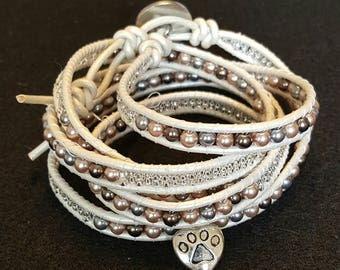 Handmade Adjustable Chan Luu Style Beaded Leather Wrap Bracelet - Great Gift!!